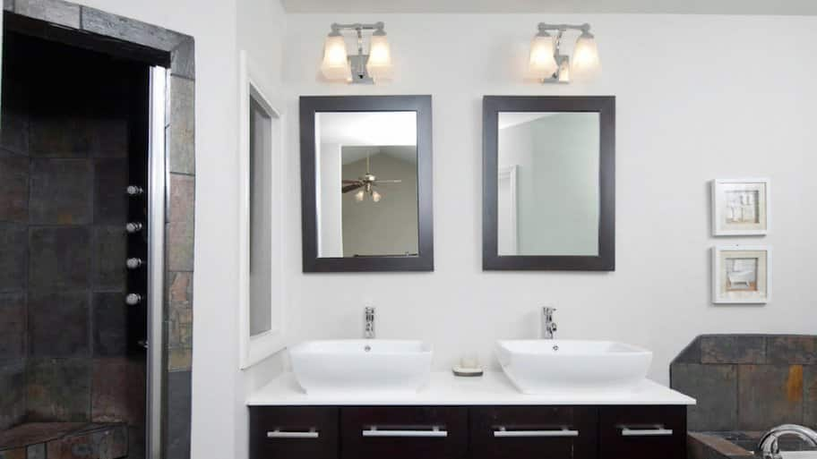 modern bathroom with his and her sinks