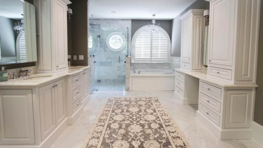 white bathroom vanities and cabinets