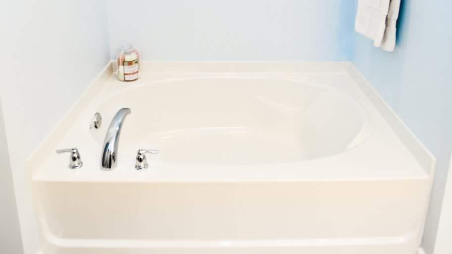 Lovely Garden Bathtub In Bathroom With Pale Blue Walls