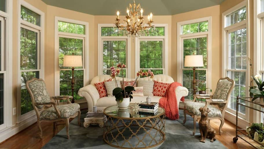 4 Ways Replacement Windows Accent Your Decor | Angie's List Sunroom Ceiling Design on dining ceiling design, ballroom ceiling design, sunroom floor, kitchen ceiling design, tile ceiling design, entryway ceiling design, patio ceiling design, balcony ceiling design, sunroom walls, entrance ceiling design, sunroom architecture, office ceiling design, air conditioning ceiling design, library ceiling design, studio ceiling design, stairwell ceiling design, open floor plan ceiling design, bar ceiling design, room ceiling design, shed ceiling design,