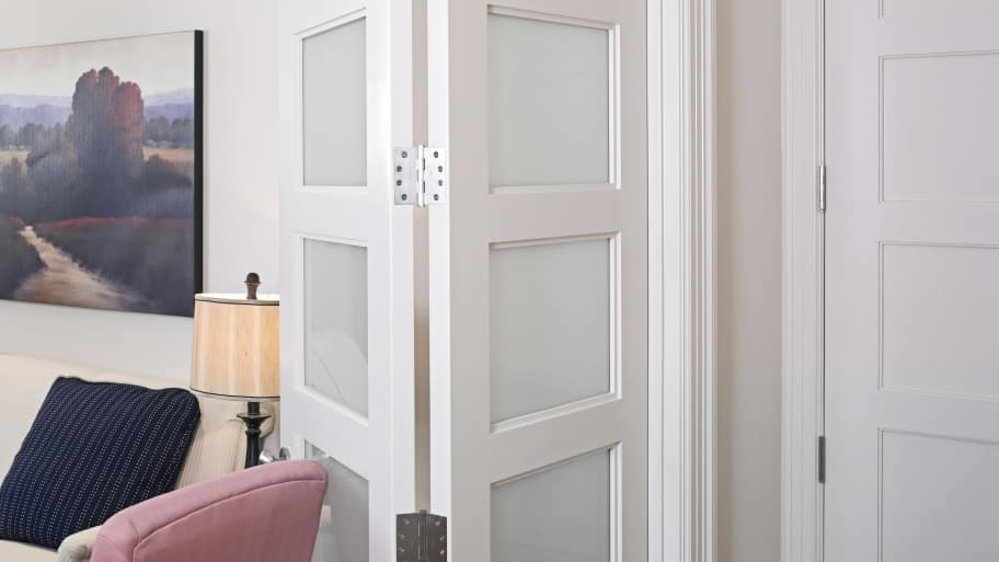white bifold doors accordion style