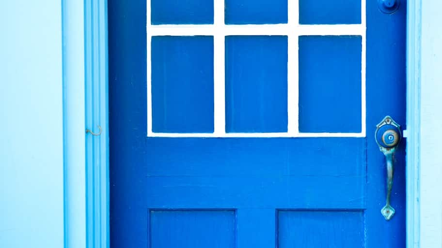 blue exterior door on house