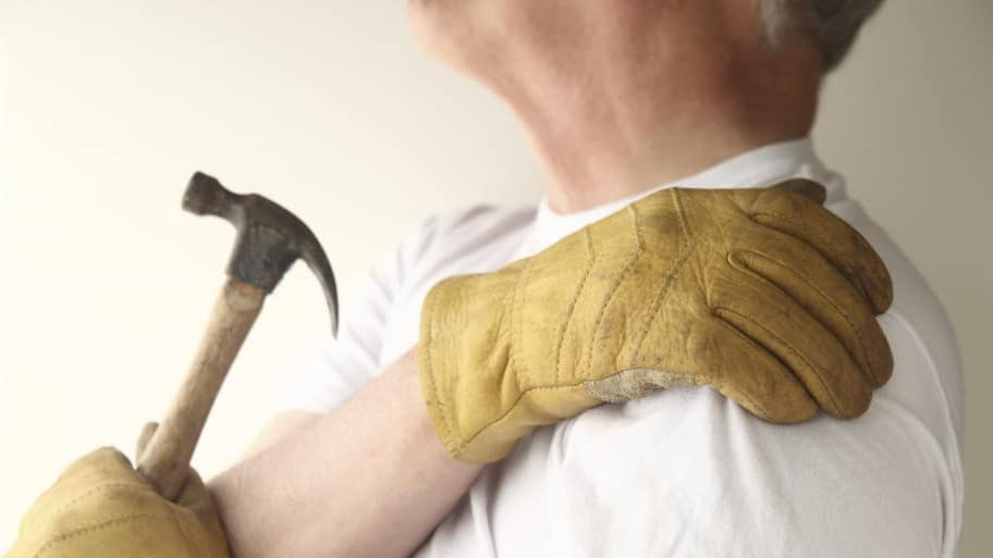 A worker with shoulder pain