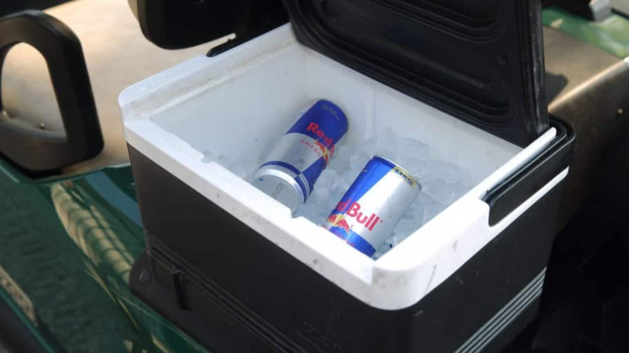 Red bull cans in black cooler