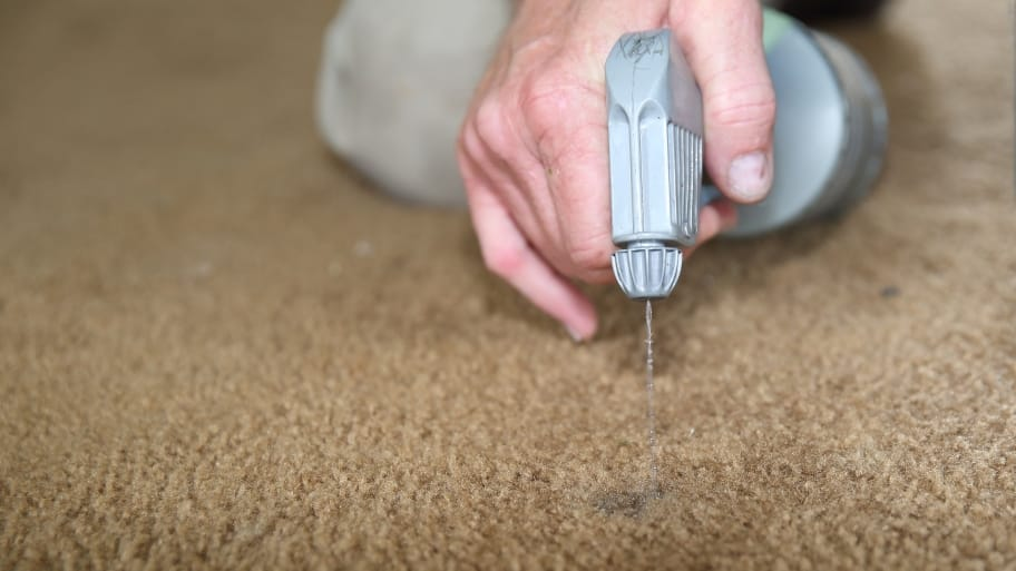 man spraying carpet dye onto carpet