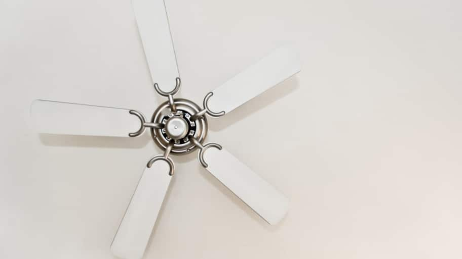 brushed nickel ceiling fan with white blades