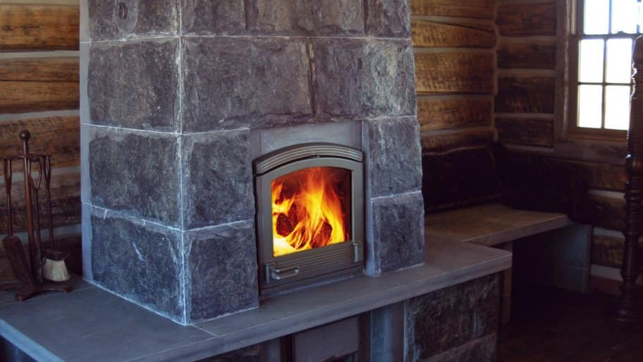 stone fireplace in cabin
