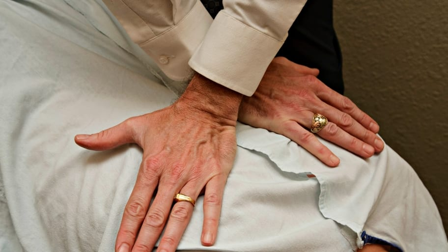 chiropractor working on a back