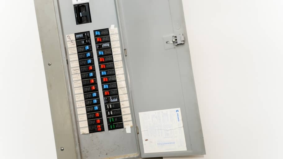 open electrical circuit breaker panel