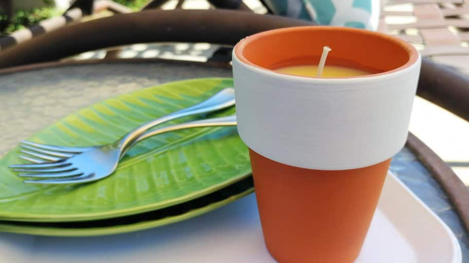 citronella candle on patio table