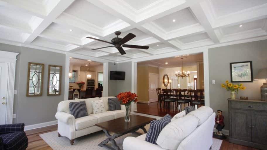 coffered ceiling in a living room
