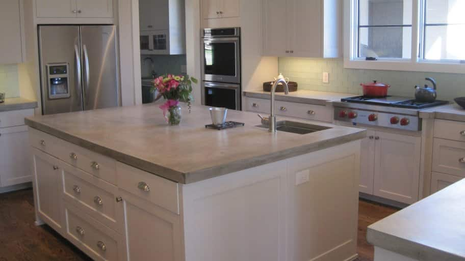 Kitchen Island With Concrete Countertops
