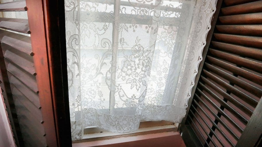 lace curtain in window