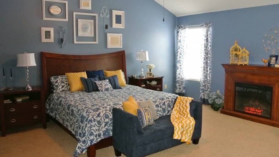 A bedroom decorated in French Country style with blue and yellow accents  5 Steps to Pick the Best Interior Paint Colors Angie s List