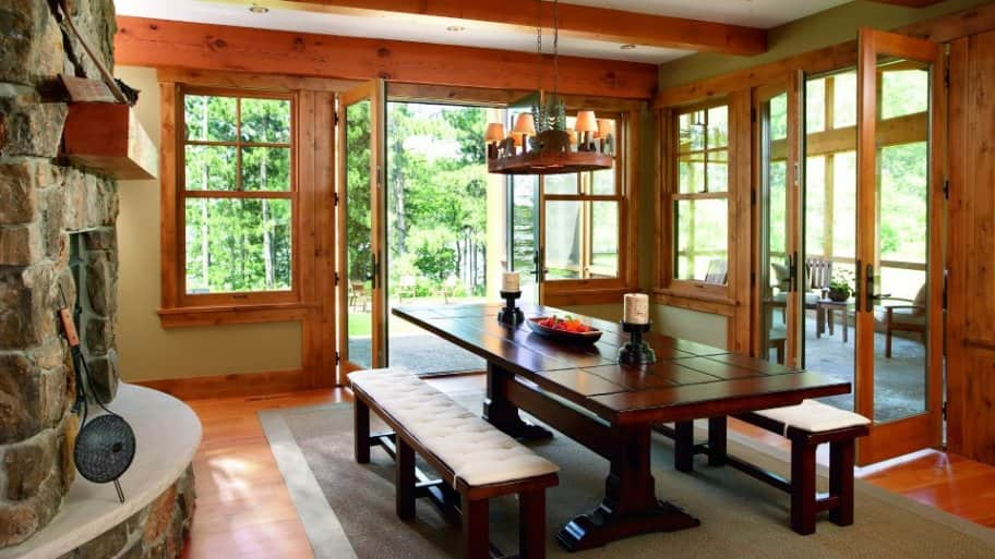 dining room with table and benches on either side