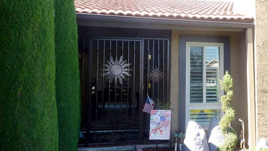 Front door with a security gate