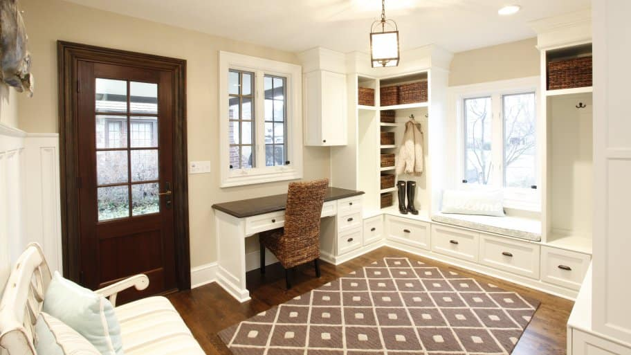 mudroom and command center in home entryway