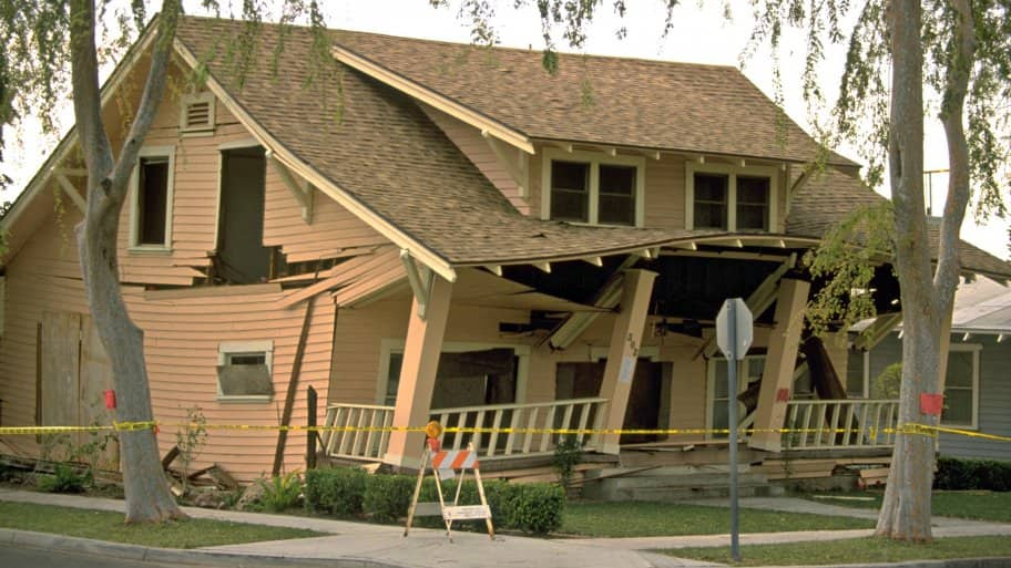 This home was significantly damaged in the1994 Northridge earthquake in California. (Photo courtesy of FEMA)