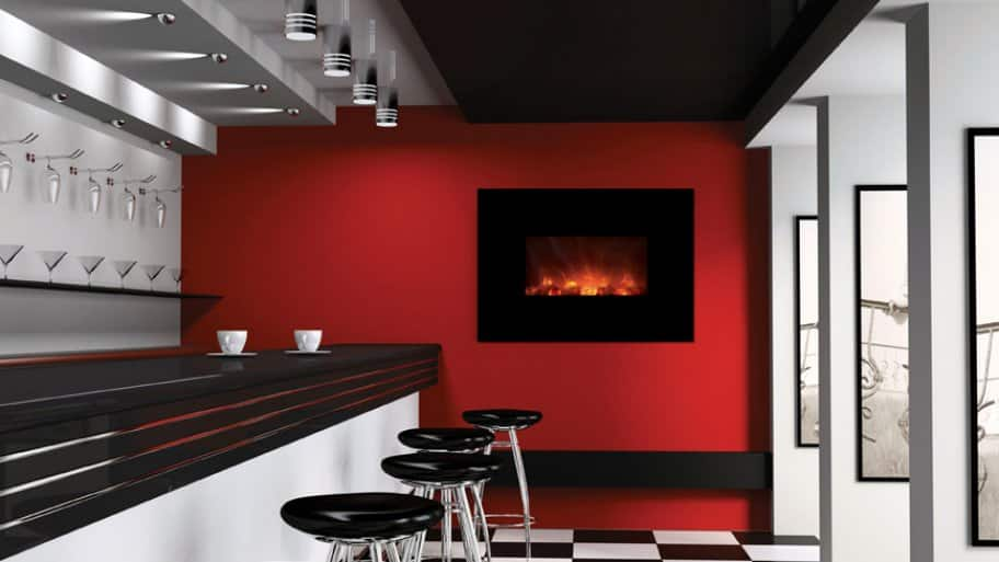 black electric fireplace on red wall in bar room