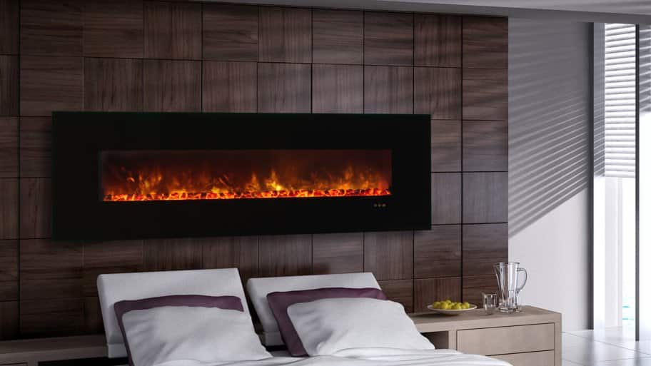 add a little spark to the bedroom by mounting an electric fireplace