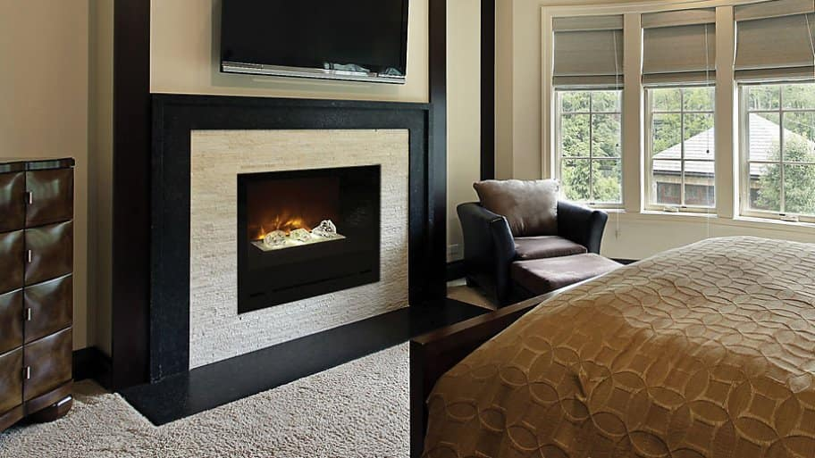 electric fireplace bedroom TV mounted on wall