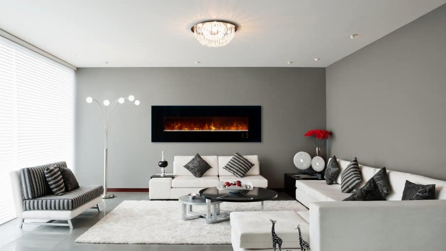 Electric Fireplace Wall Mount Grey Decor Living Room