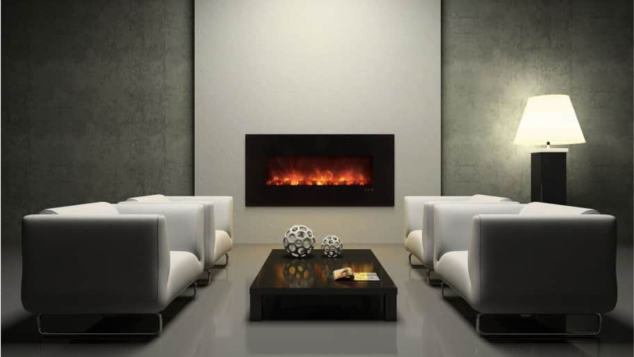Electric Fireplace Contemporary Living Room Grey Decor Part 91