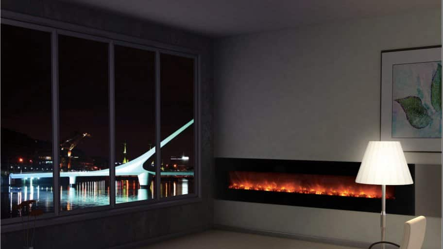 cityscape night view electric fireplace