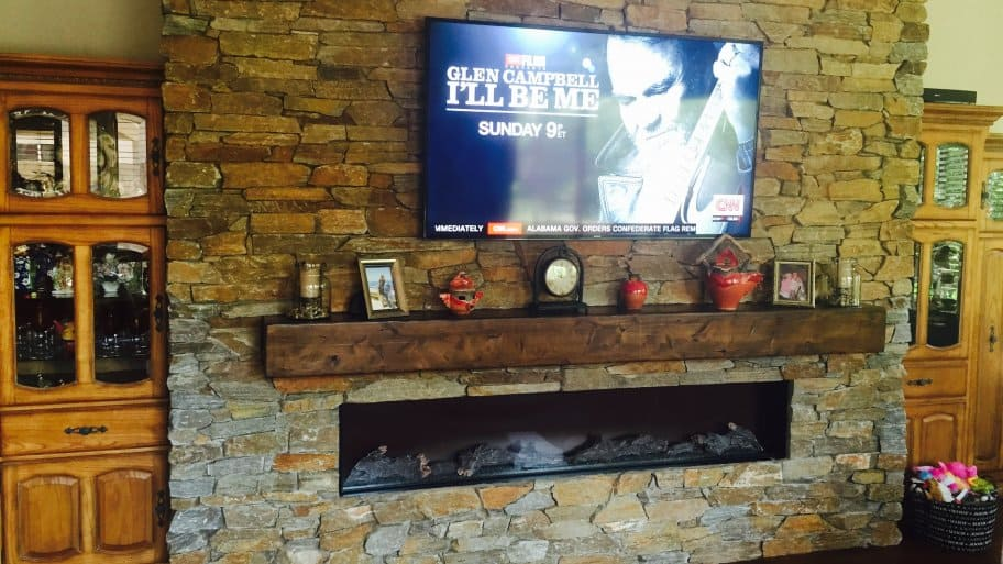 Electric Fireplace TV Mounted On Wall Stone Surround Wood Mantle