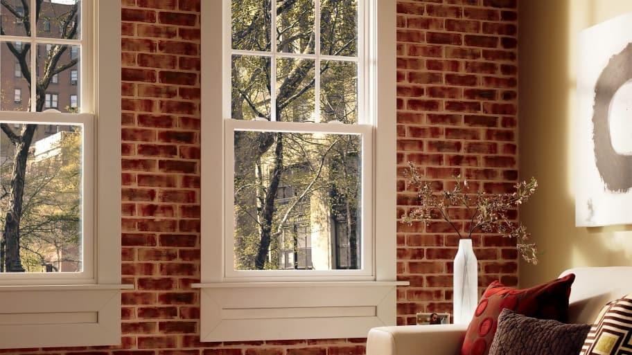 exposed brick with windows