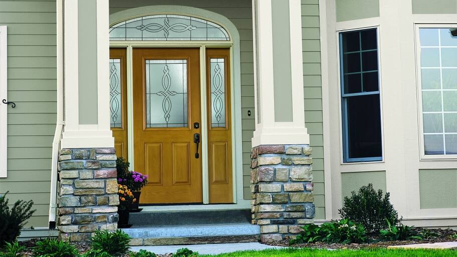 Pella front door with sidelights