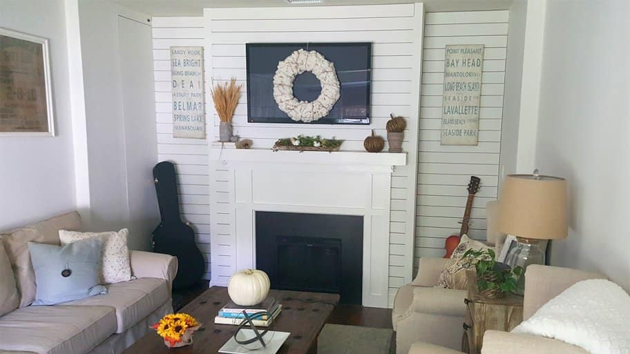 converted garage living room decorated for fall