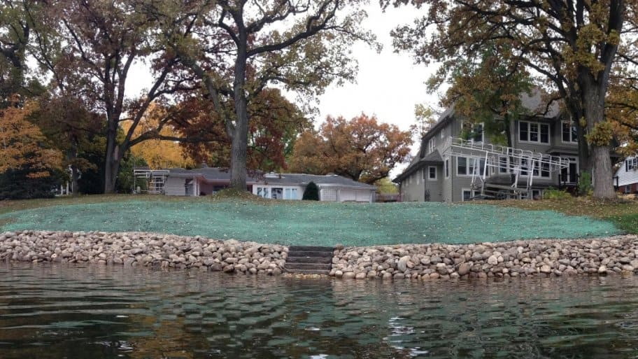 shoreline landscaping of lakefront property