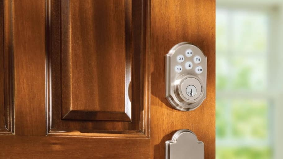 Front door electronic deadbolt