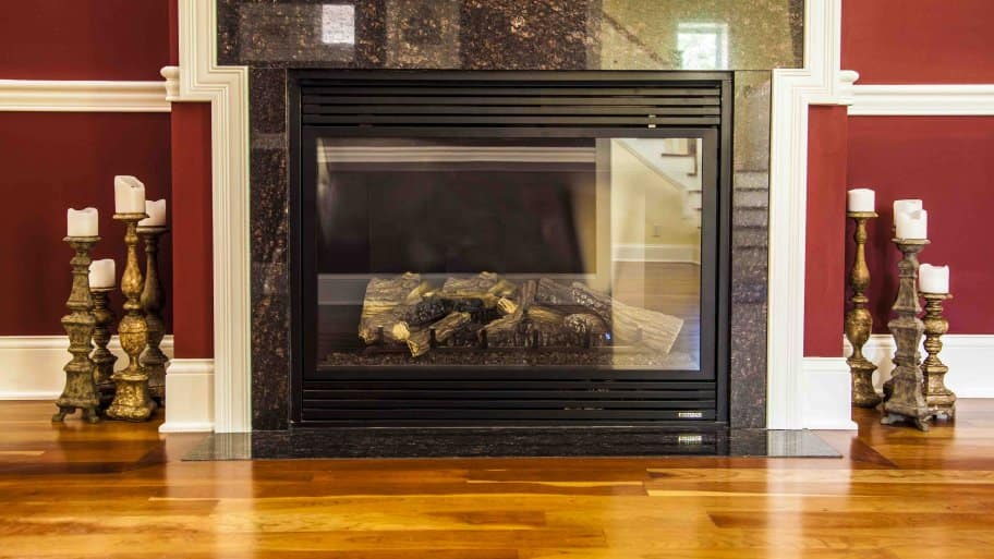 Fireplace With Wood And Tile Surround