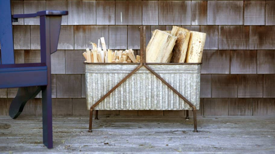 iron bucket firewood storage