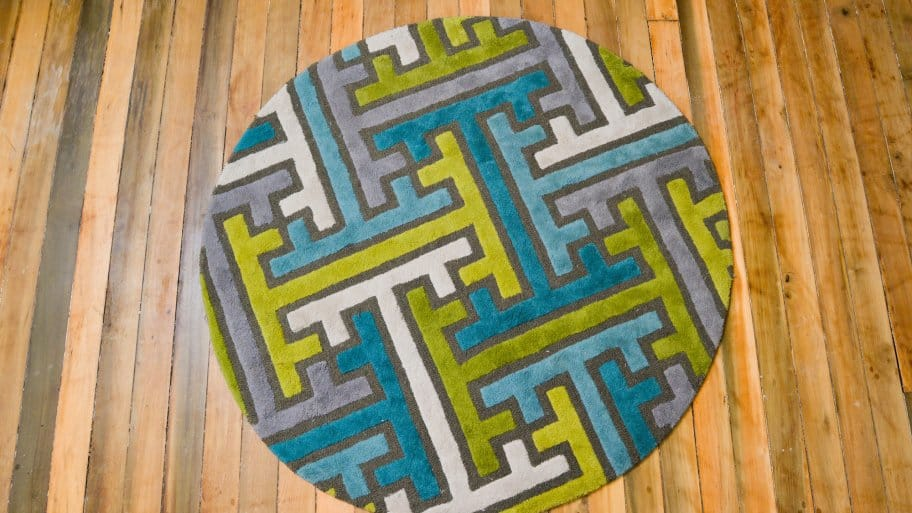 contemporary floor rug on hardwood