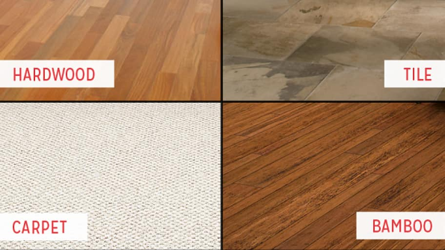 4 different types of flooring: carpet, bamboo, tile, and hardwood