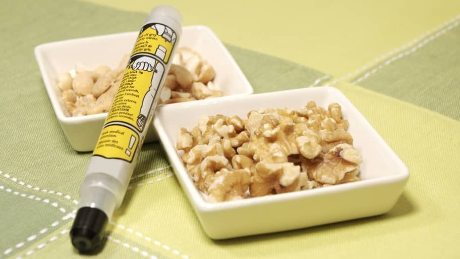Epinephrine auto-injector for allergy sits next to a common food allergen - nuts.