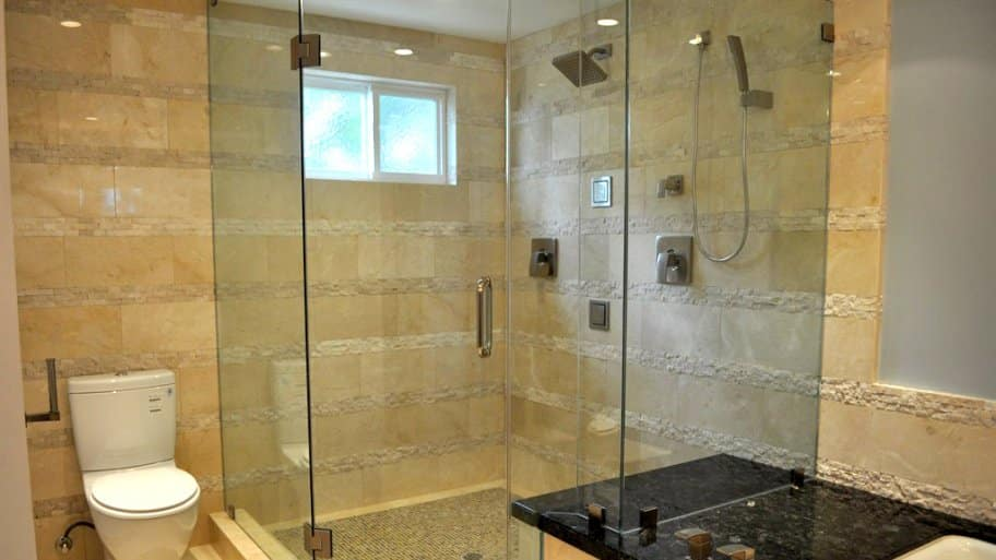 frameless shower door on shower enclosure
