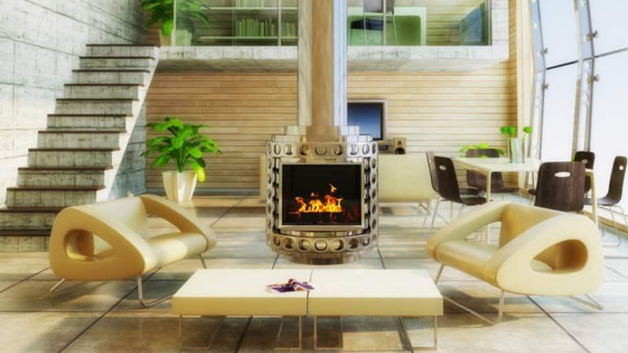 modern metal fireplace in loft