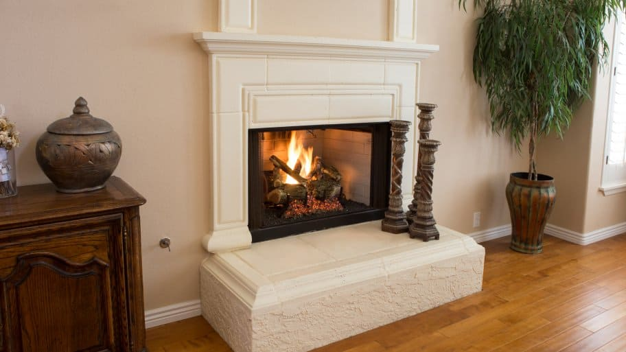 Elegant Gas Fireplace Faux Marble White