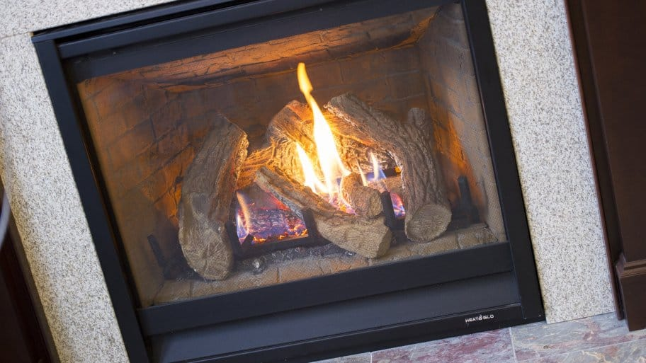 Superb Can I Convert A Gas Fireplace To Wood Burning Part - 11: Gas Fireplace With Tile Surround And Hearth