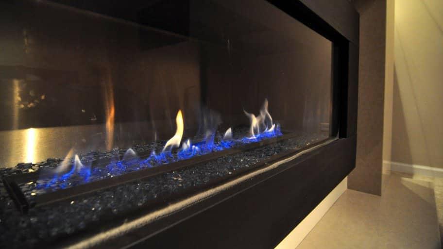 Gas Fireplace Service Cincinnati Part - 32: Gas Fireplace With Blue Flame