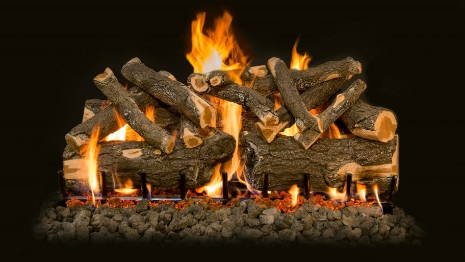 Ceramic Gas Logs Burning With Flames And Embers. Ventless Gas Fireplaces ...