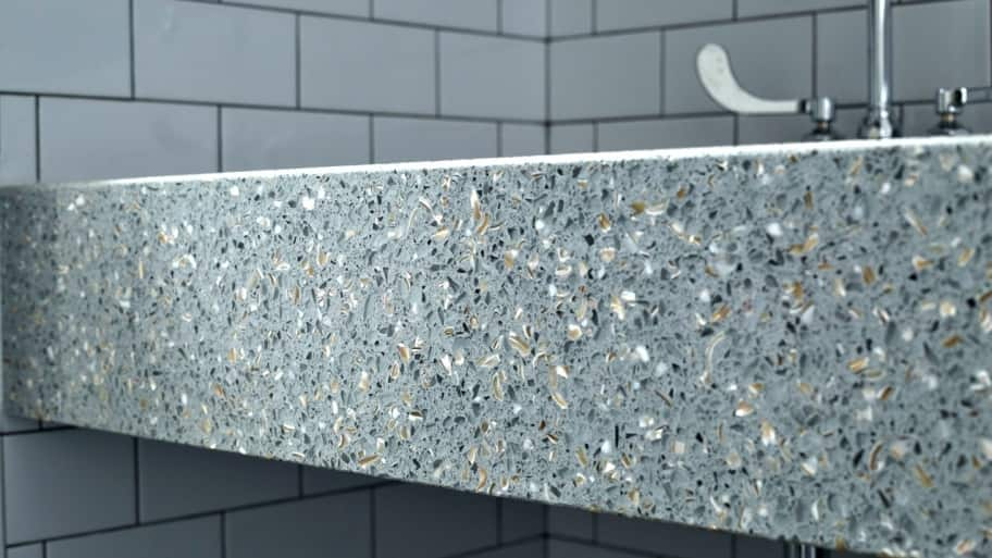front side of a recycled glass countertop