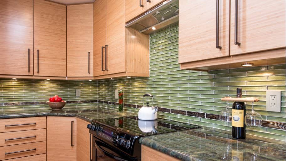 Kitchen With Granite Countertops And Bamboo Cabinets