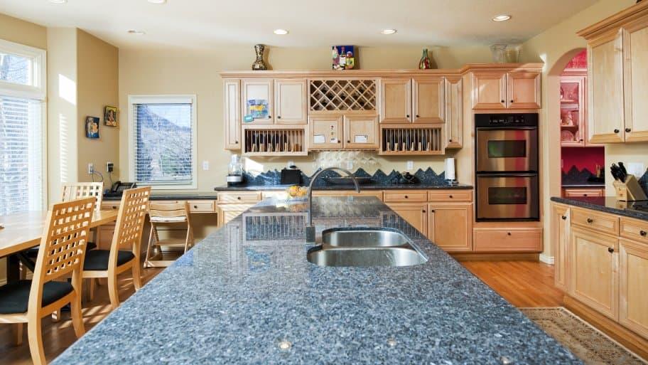 blue granite kitchen countertoop