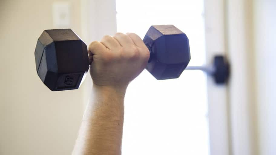Dumbbell in the air