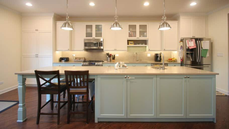 Light Blue Kitchen Island And Lower Kitchen Cabinets